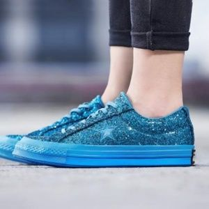Converse One Star Blue Glitter Sequin Sneakers 7.5